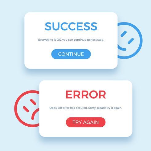 Framgång och felmeddelande, vektor illustration