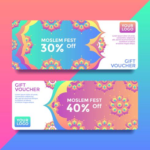 Moslem Fest Gift Card Voucher Templates Vector