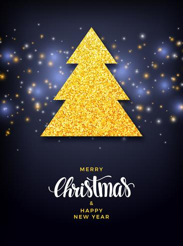 Christmas tree with glitter fill background, holiday design