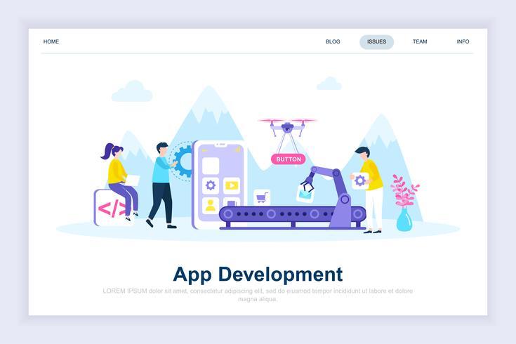 Conceito de design plano moderno de desenvolvimento de App