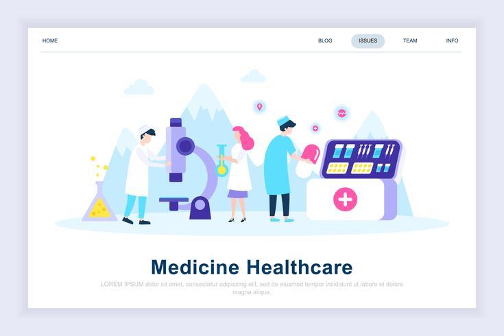 Concept de design plat moderne de médecine et de soins de santé