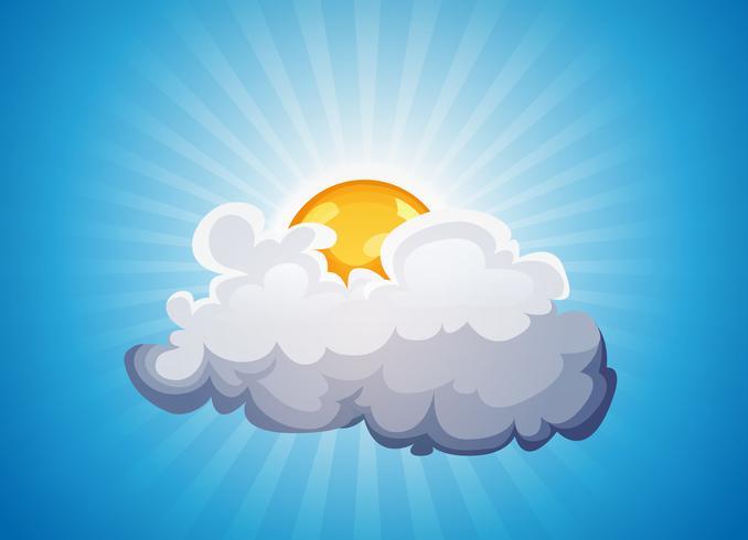 Sky bakgrund med solsken och moln vektor