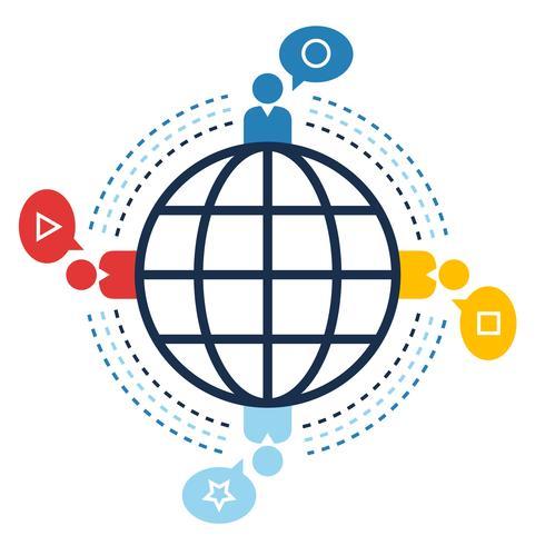 Conexión mundial, webs sociales, concepto de comunicación.