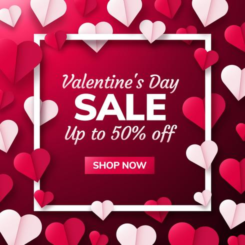 Valentines day background with paper origami hearts divided into half. vector