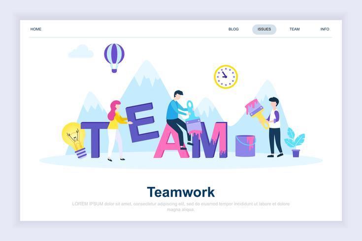 Teamwork modern flat design concept