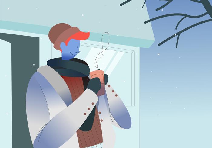 Drinking Hot Coffee In Winter Outdoor Vector Illustration