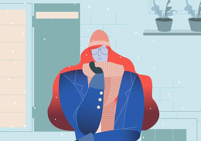 Snygg Glasögon Tjej Med Vinter Outfit Vektor Illustration
