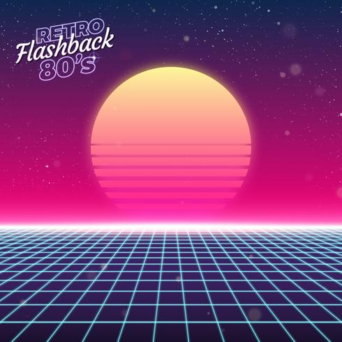 Synthwave retro design, sol och galler, illustration