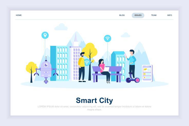 Concetto di design piatto moderno città intelligente