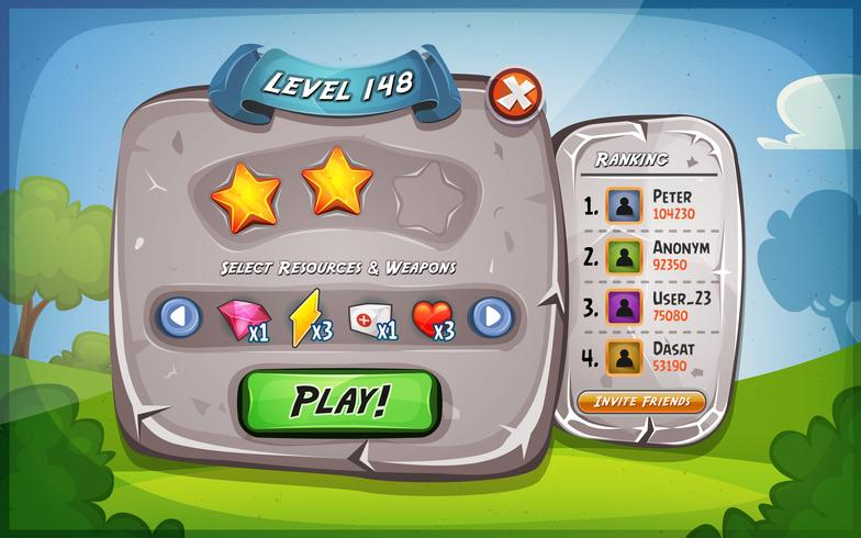 Level-Panel mit Optionen für Ui-Spiel vektor