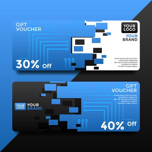 Electric Gift Card Voucher Templates Vector