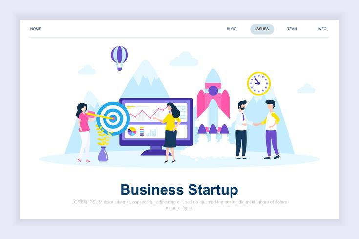 Concepto de diseño plano moderno de inicio de negocios