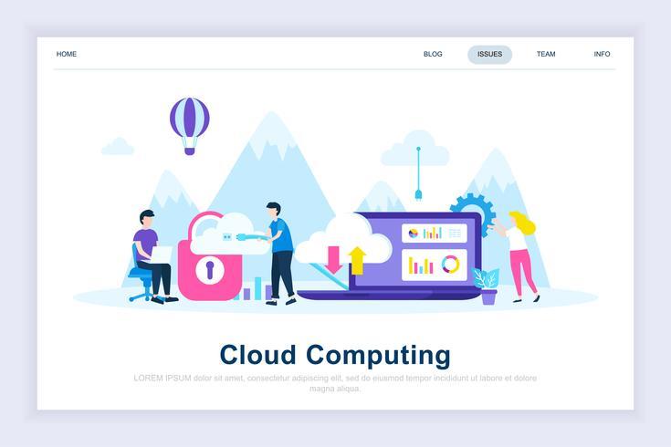 Cloud computing moderno concepto de diseño plano