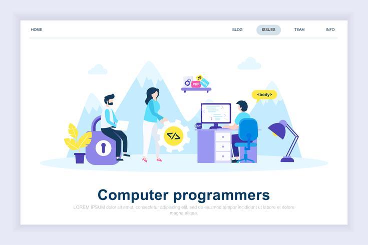 Conceito de design plano moderno de programadores de computador vetor