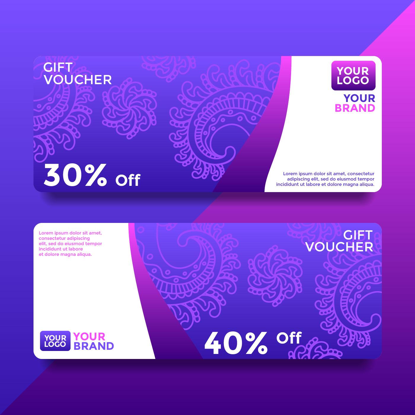 purple batik gift card voucher templates vector 266103