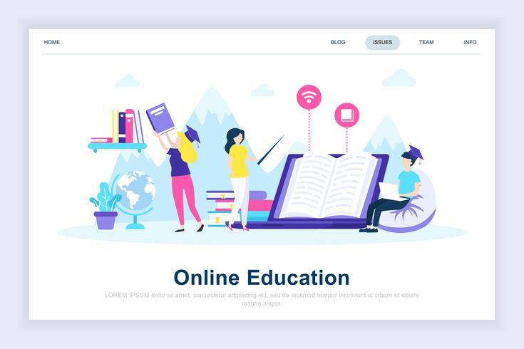 Conceito de design plano moderno de educação on-line