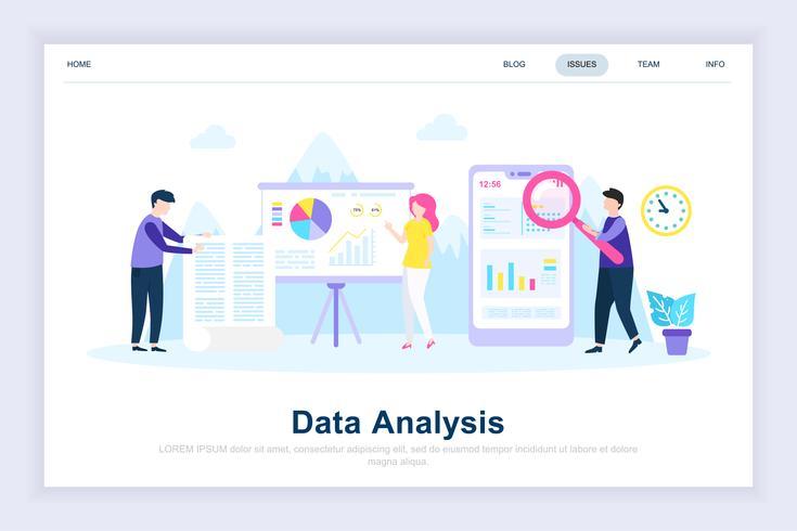 Modernes flaches Konzept der Datenanalyse