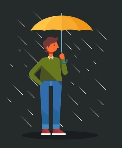 Menino, segurando, guarda-chuva, ilustração