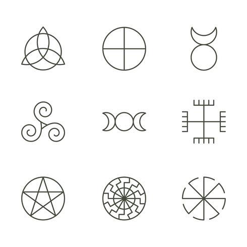 Símbolos antigos pagãos, ícones sagrados de mistério, ilustração