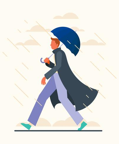 Boy Holding Umbrella Illustration vector