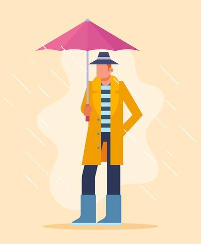Junge, der Regenschirm-Illustration hält