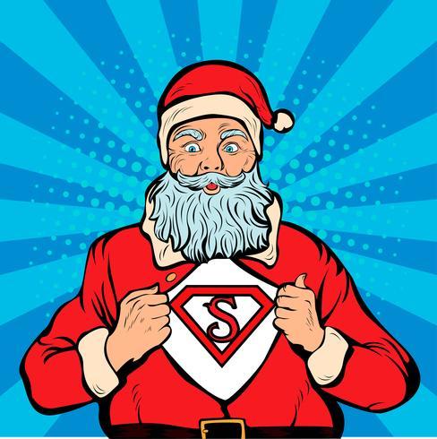 Superhéroe de Santa Claus, ilustración vectorial de arte pop retro.
