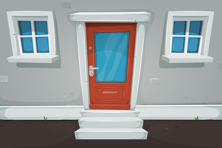 Puerta de la casa de dibujos animados y ventanas en la calle vector