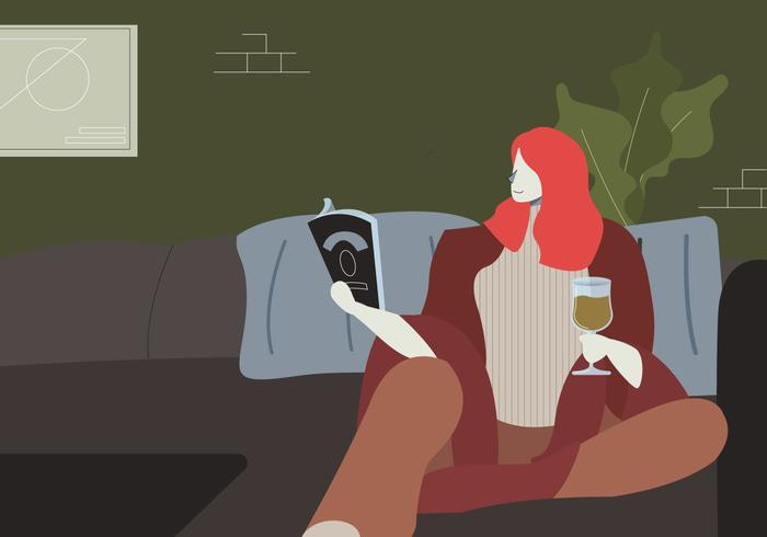 Woman Reading A Book In Cozy Living Room Vector Illustration