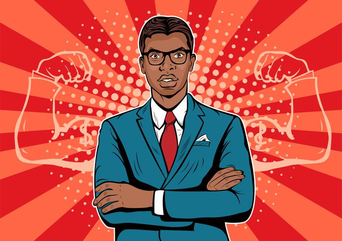 Afro american Man with muscles currency dollar pop art retro style. Strong Businessman in glasses in comic style. vector