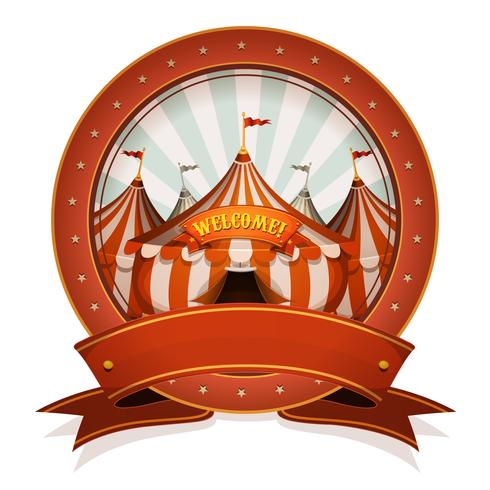Vintage Circus Badge And Ribbon With Big Top vettore