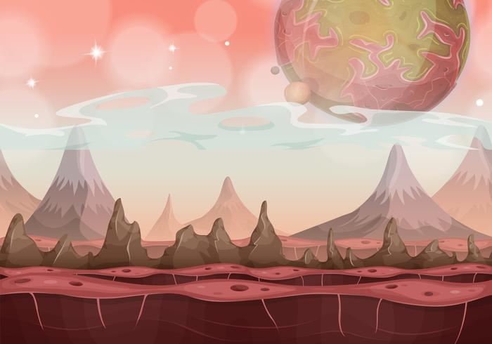 Fantasy Sci-fi Alien Landscape For Ui Game vector