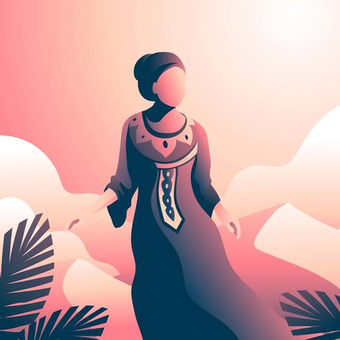 Woman In Kaftan At The Desert