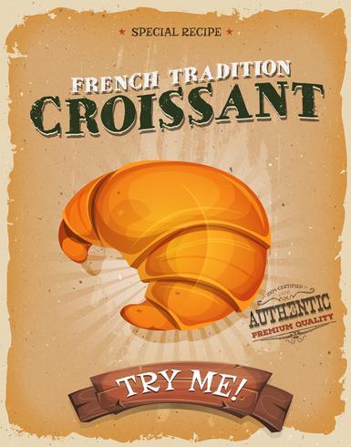 Grunge och vintage fransk croissantaffisch