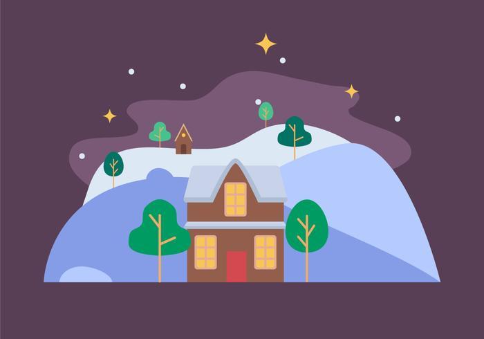Hus Vinterlandskap vektor