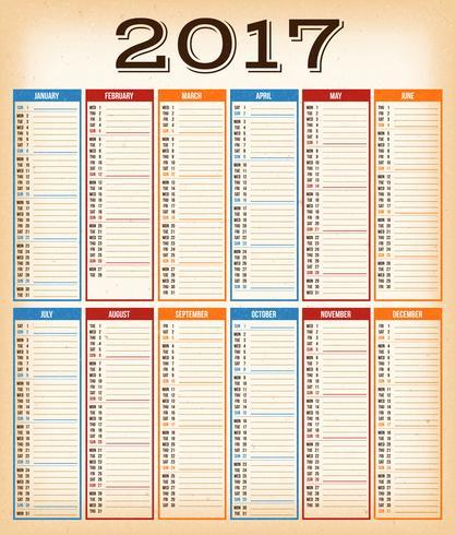 Calendário De Design Vintage Para O Ano De 2017 vetor