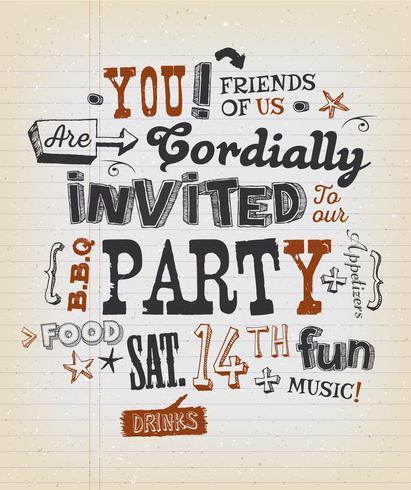 Party Invitation Poster på skolpapper