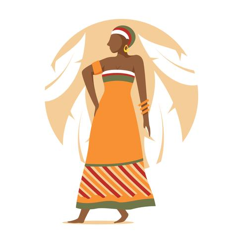 Woman in kaftan vector