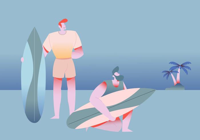 People Surfing In Beach Vector Illustration