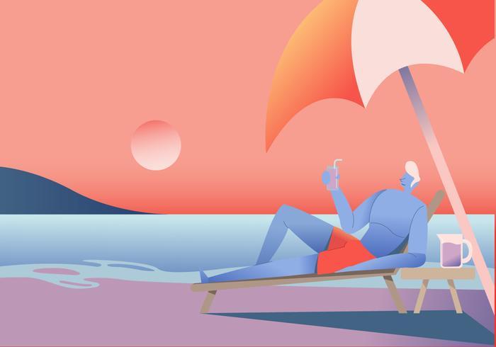 Man njuter av solnedgången vid stranden Vector platt illustration