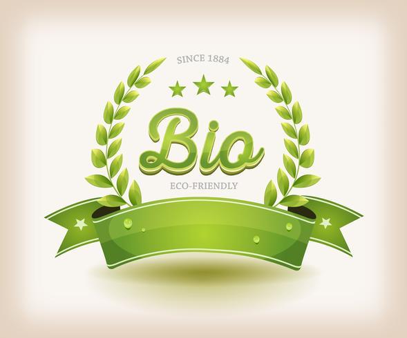 Bio Et Eco Label Avec Bannière Verte