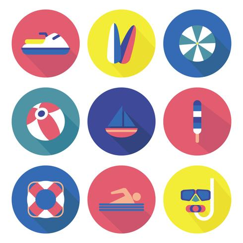 Färgglada Beach Activities Ikoner