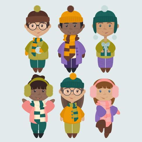 Vector Illustrations of Kids in Winter Clothes