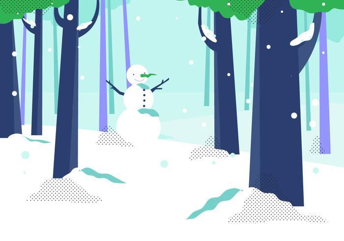 Winter Forest With Snow Man Background Vector Illustration