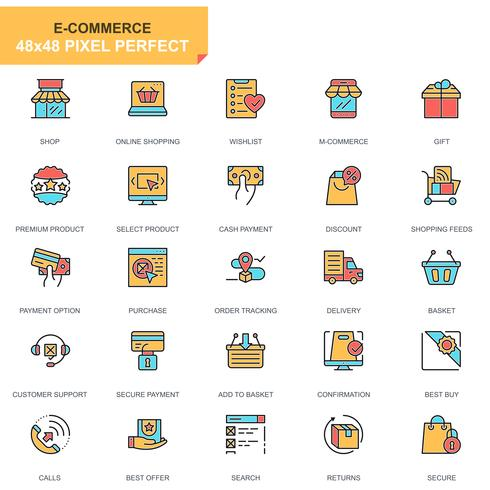 E-commerce en winkelen Icon Set