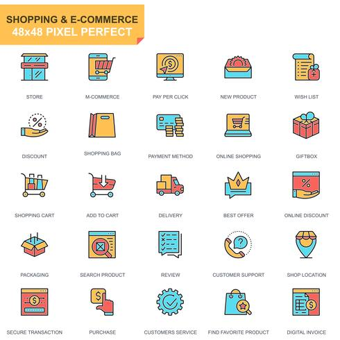 Jeu d'icônes de magasinage et de commerce électronique