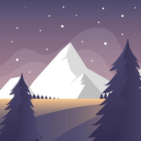 Flat Simple Winter Forest Landscape Vector Background