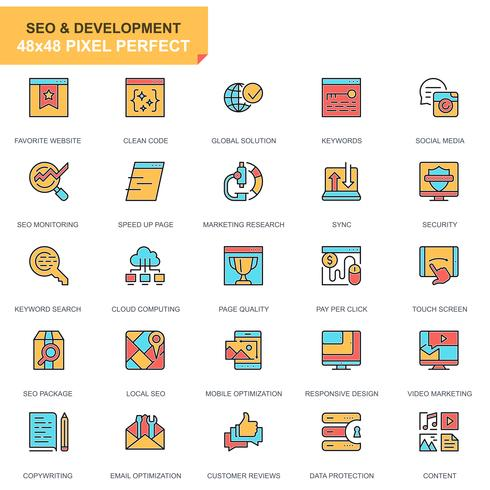SEO och utveckling ikonuppsättning