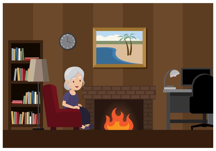 Mulher velha em um quarto acolhedor