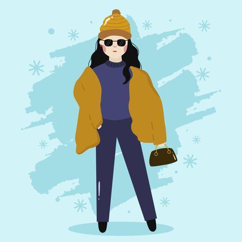 Girl Stylish Model Potrait Vinter Vector