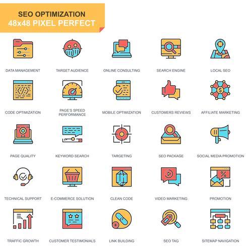 SEO och webboptimering ikonuppsättning